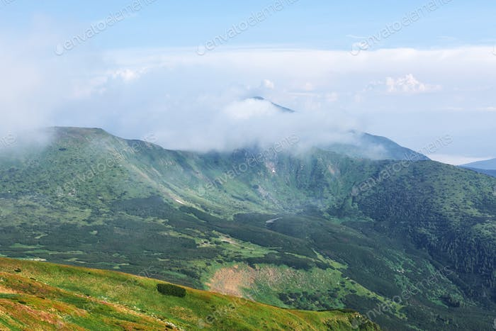 Mountains in Europe. Ukraine. Carpathians. Mountain trekking. Traveling in the mountains. Mountain