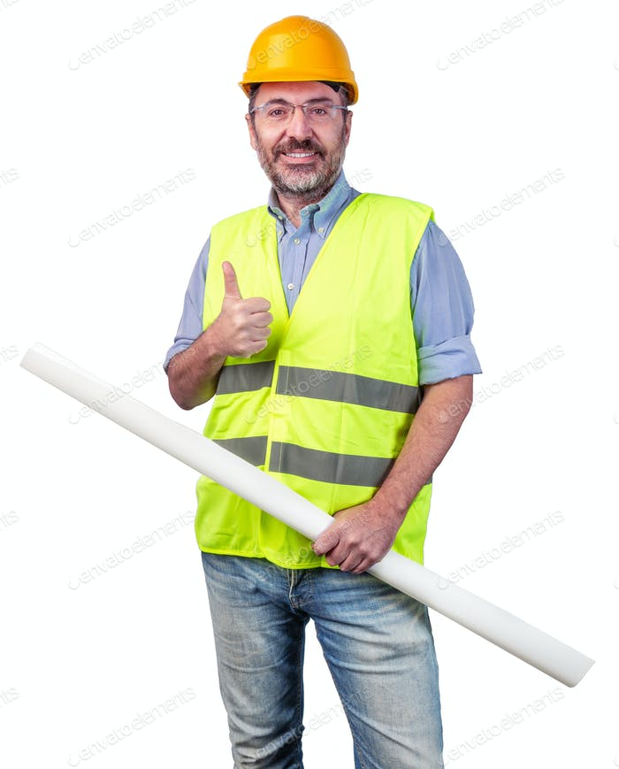 happy construction industry professional isolated