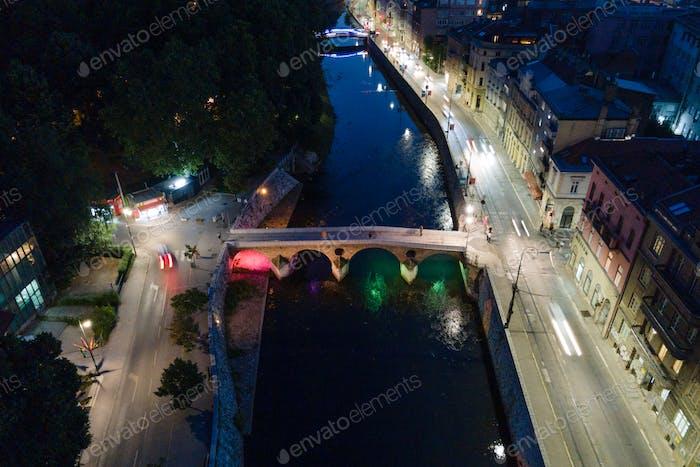 View of the Principov most in Sarajevo at night