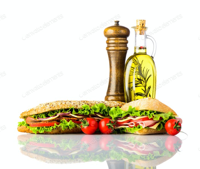 Sandwich and Burger with Spices Isolated on White Background