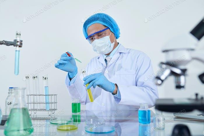 Scientific experiment at laboratory