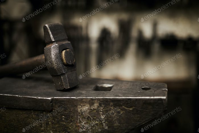 Hammer and anvil in smithery