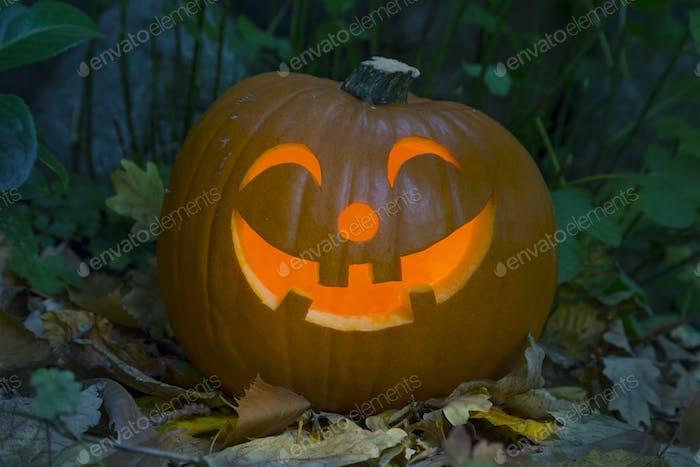 Orange kind smiling illuminated Halloween pumpkin