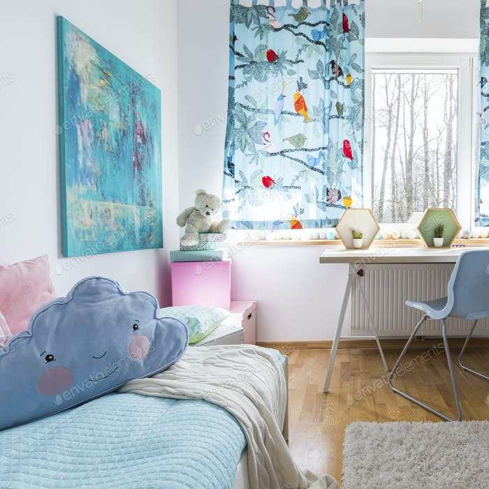 Soft blue is always in style in children's room