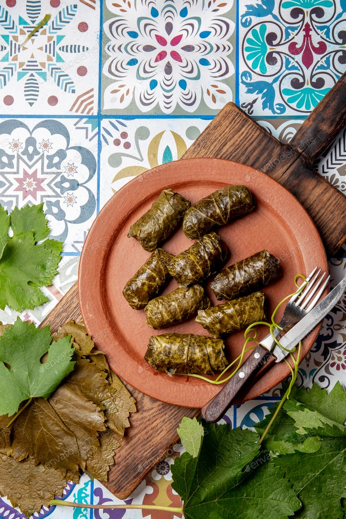 Latin American Mexican Chilean cuisine. Ninos envueltos. Grape leaves stuffed wish meat on clay