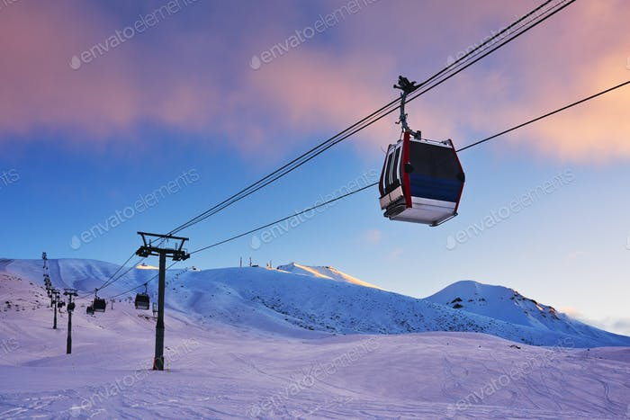 Gondola lift in the ski resort in the early morning