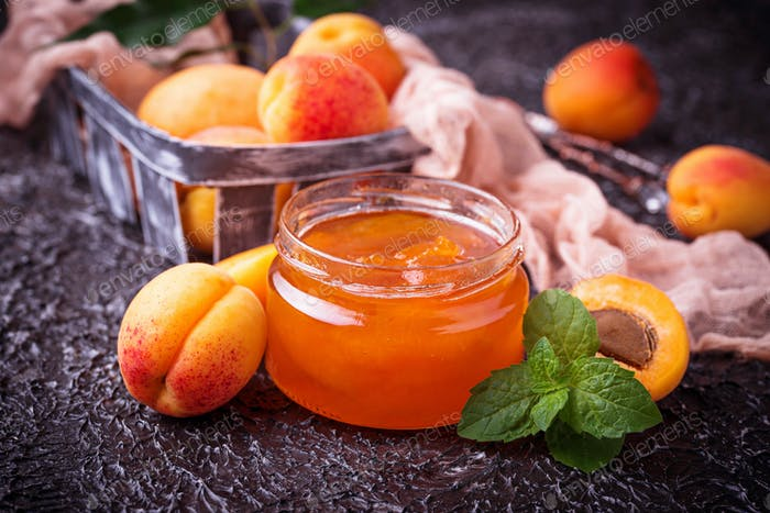 Apricot jam in glass jar