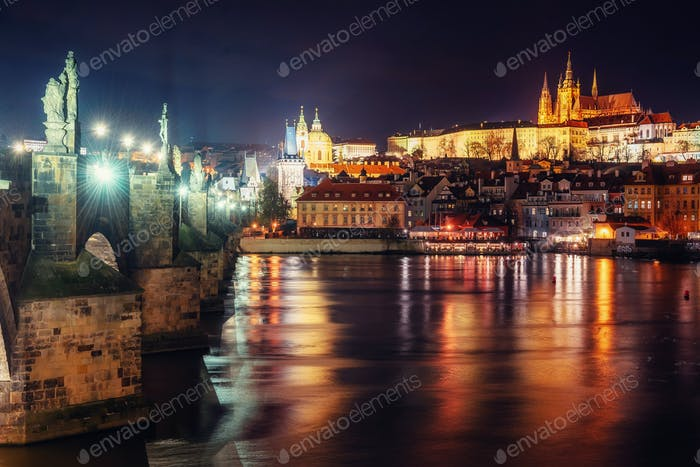 Prague Castle and Charles Bridge in the night