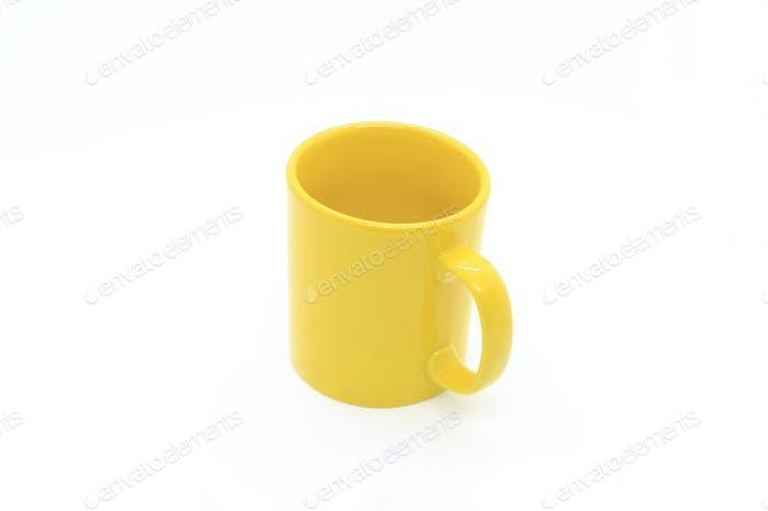 Leuchtend gelbe Keramiktasse