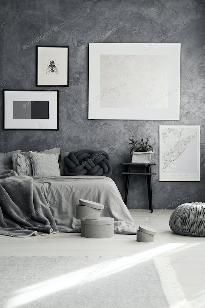 Monochromatic bedroom with gray pillows