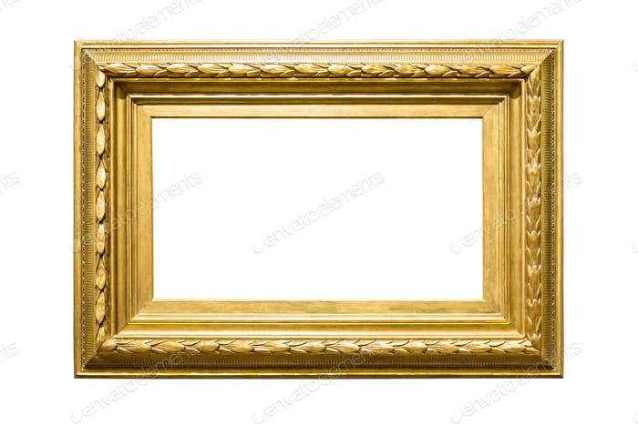 Landscape golden decorative picture frame on white background
