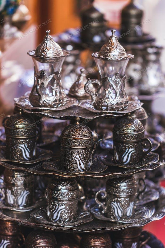 Traditional Turkish coffee set handmade with metal carving