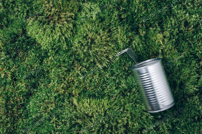 Open tin can on green moss background. Top view. Copy space. Aluminium cans after picnic in forest