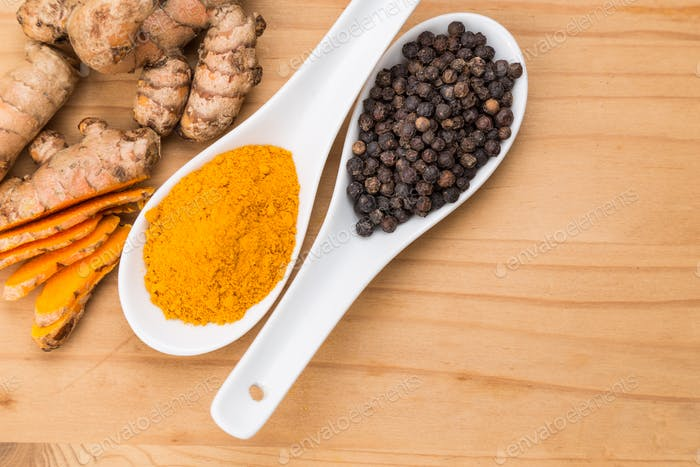 Turmeric roots and black pepper combination enhances curcumin ab