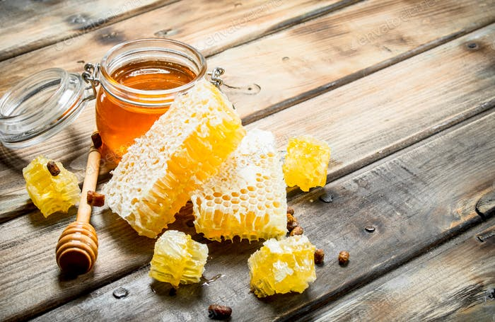 Natural honey in honeycombs.