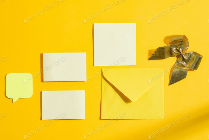 Christmas paper cards with envelope and decoration
