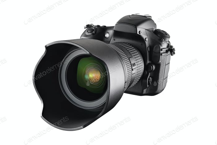Black professional DSLR camera isolated