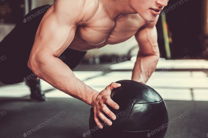Young sportsman working out