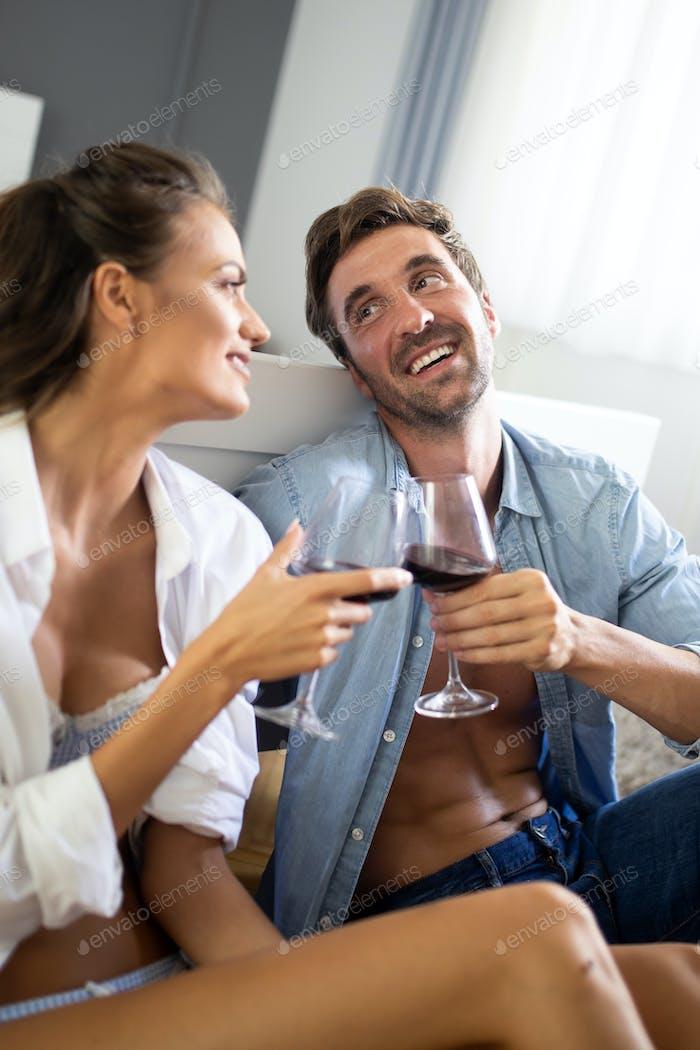 Sensual photo of a young romantic couple