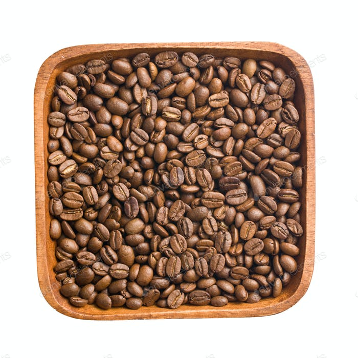 coffee beans in wooden bowl