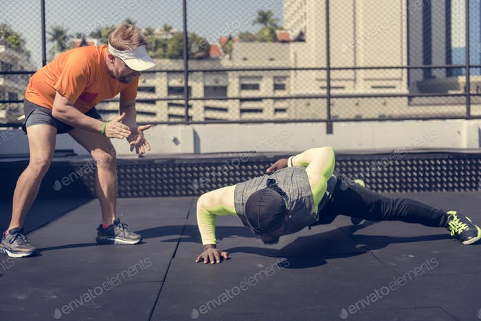 Man doing a push up