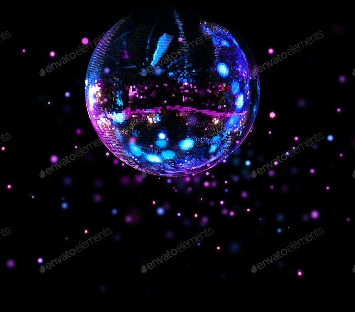 Colorful disco mirror ball light spots