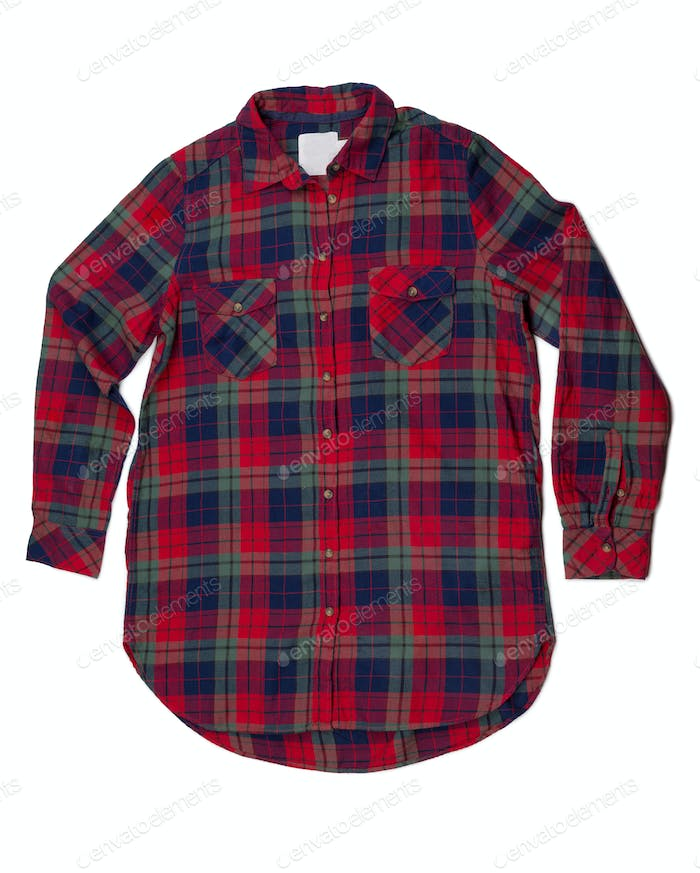Red and blue plaid shirt fashion.