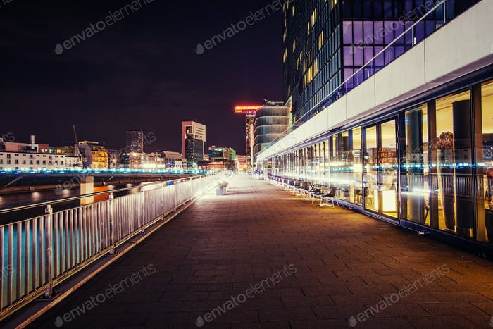 Night city landscape Dyusildorf. Media harbor Germany