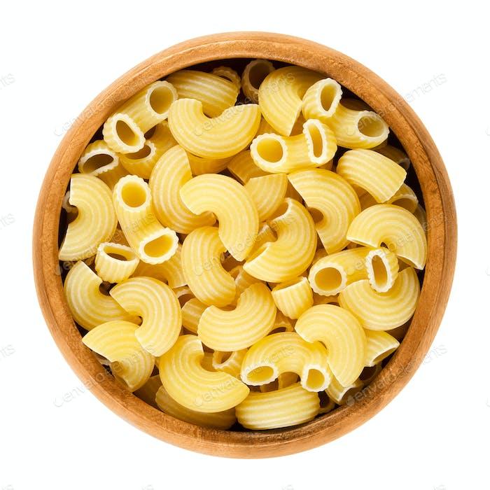 Chifferi pasta in wooden bowl over white