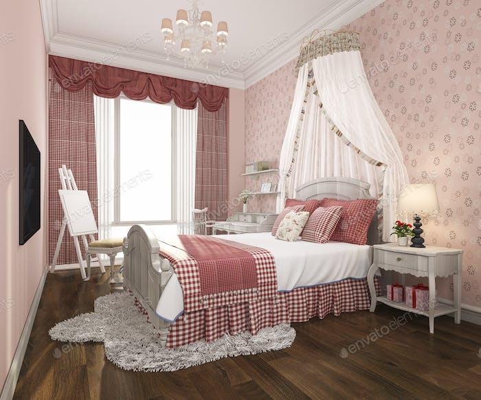 3D representación hermosa rosa pastel vintage niño dormitorio
