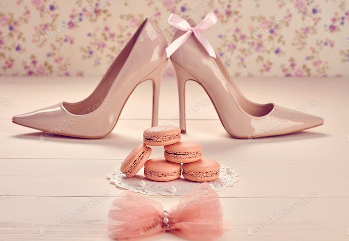 Macarons, high heels