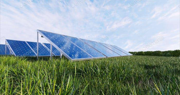Solar power panel on sky background.