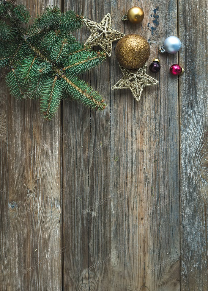 Christmas or New Year rustic wooden background