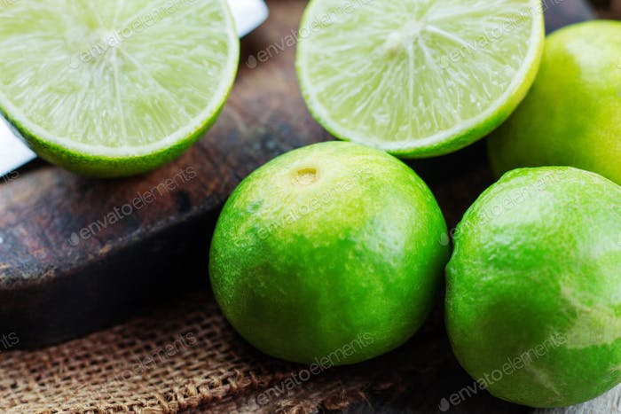 Green lime on wooden
