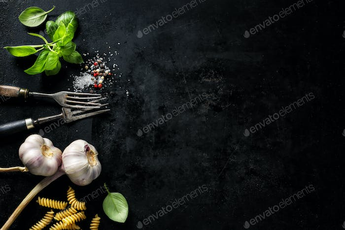 Food background with ingredients
