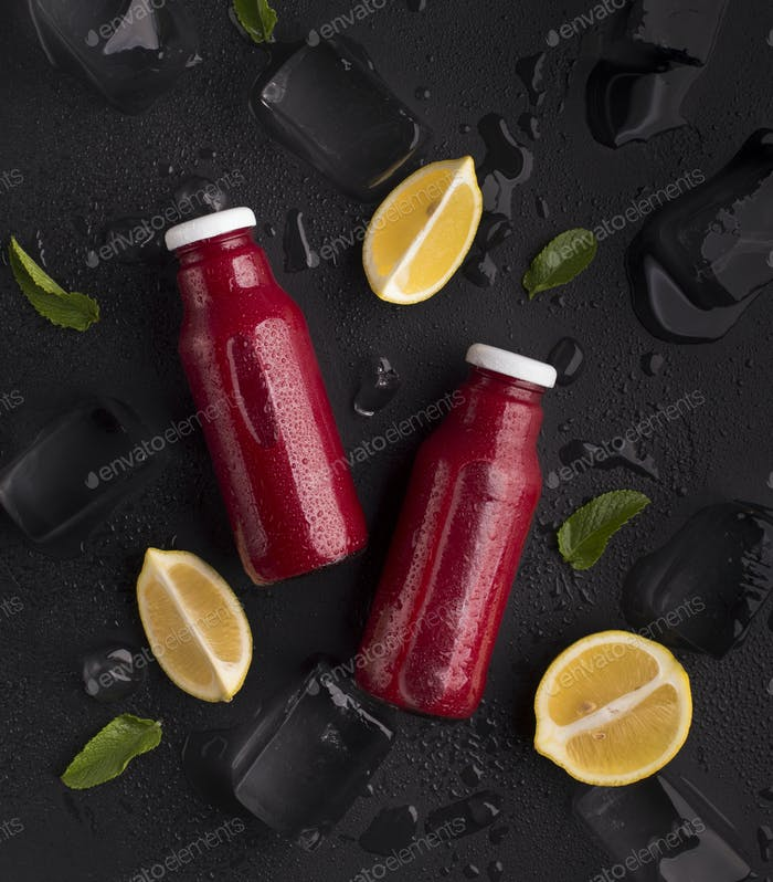 Creative summer background with fresh and cool detox cocktail