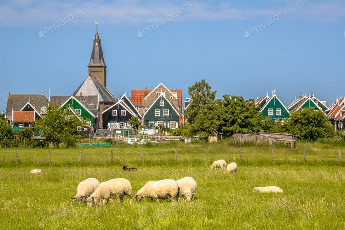 Traditional dutch Village with colorful wooden houses