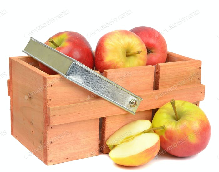 Wooden Crate with Red Apples