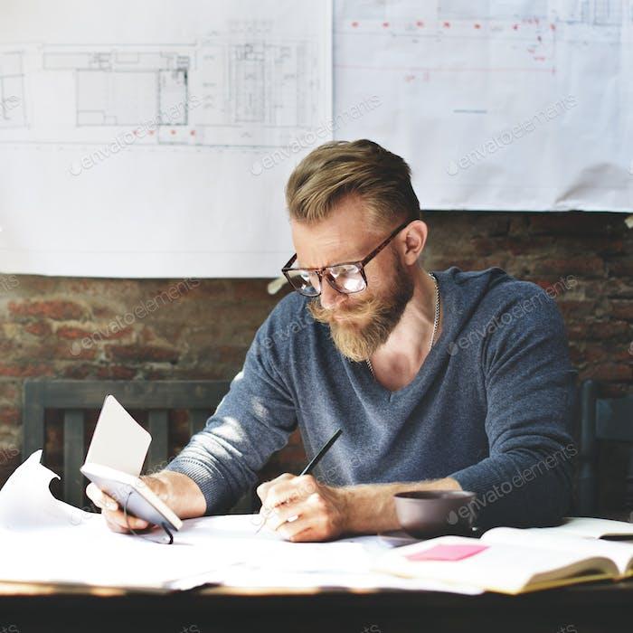 Architektur Mann Arbeitsplanung Baukonzept