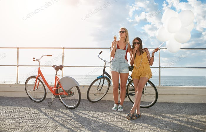 Best friends enjoying a holiday on seaside promenade