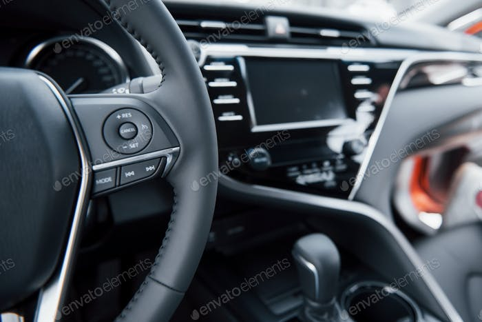 View of the interior of a modern automobile showing the dashboard