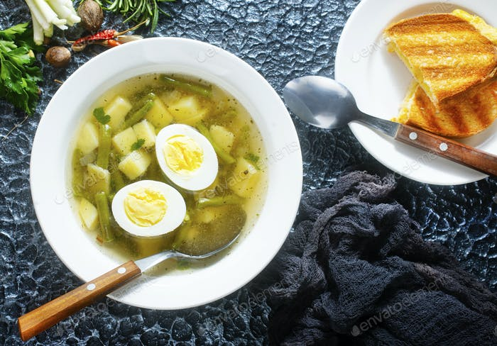 soup with vegetables and egg