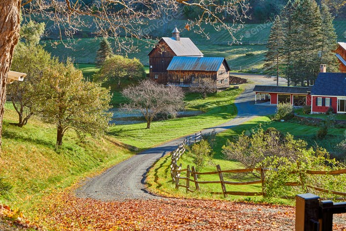 Sleepy Hollow Farm at sunny autumn day in Woodstock, Vermont, USA