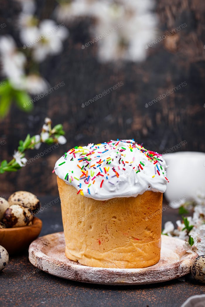 Traditional Easter cake kulich with topping