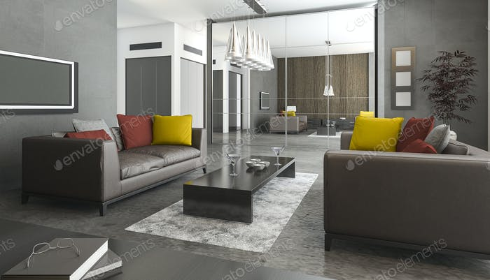 3d rendering leather sofa and colorful pillow in loft living room