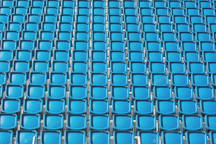 Blue seats of a stadium