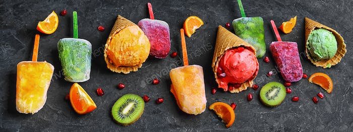 banner with assortment of citrus ice cream