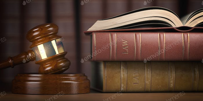 Justice, law and legal concept. Judge gavel and law books.