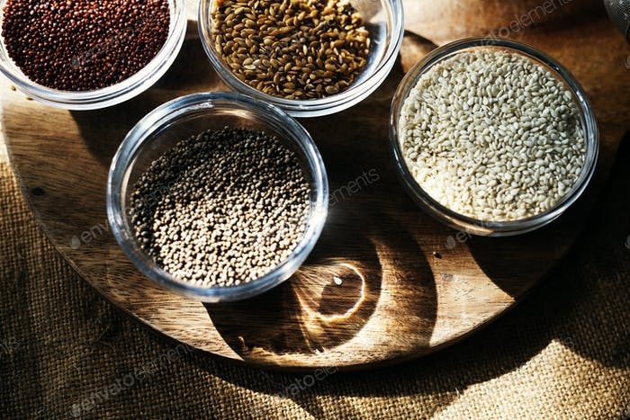 Mixed of super food seeds healthy in the bowls