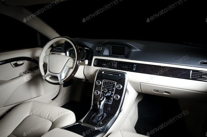 Car dashboard, modern luxuty interior, steering wheel
